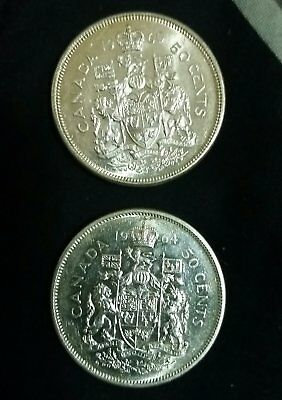 Lot of 2 Canadian silver 50 cent coins FREE SHIPPING CANADA fifty half dollar