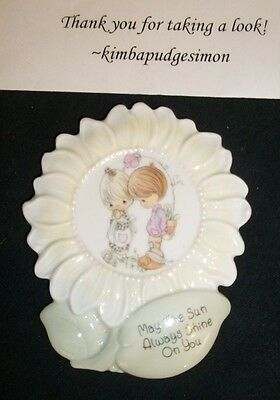 Darling Precious Moments ceramic wall plaque Little boy & girl