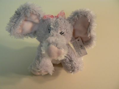 Russ EMMA - ELEPHANT Gray Plush #39329 New Satin Bow with Red Hearts PINK Ears