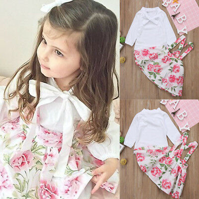 AU Stock Toddler Kids Baby Girls Outfits Clothes T-shirt Tops+Floral Dress Set