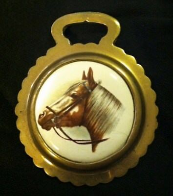 Vintage HORSE PALOMINO in BRIDLE Porcelain Harness Brass England WOW YOUR WALLS