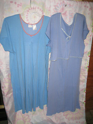 Two breastfeeding nursing nightgowns blue size L Motherwear / In Due Time
