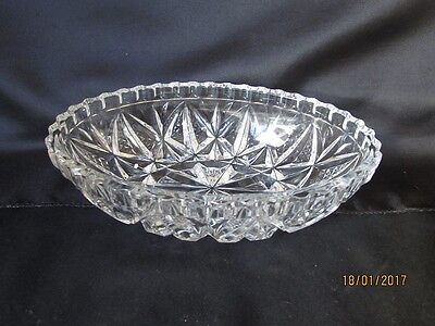 Beautiful Vintage Decorative Lead Crystal  Cut Glass Oval Bowl