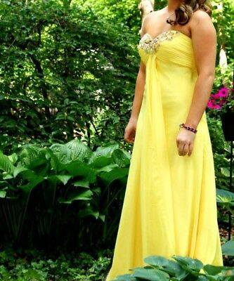 Bright Yellow Women's Long Evening, Prom, Formal Gown w/ Sweetheart Neckline