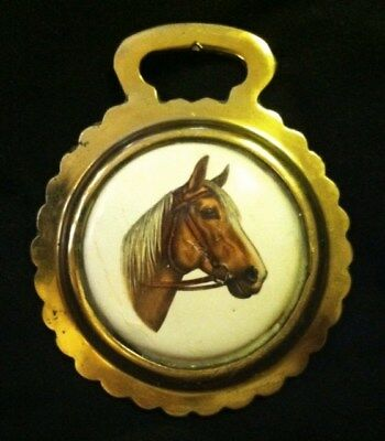 Vintage PALOMINO with BLAZE HORSE Ceramic Harness Brass  WOW YOUR WALLS! RARE!