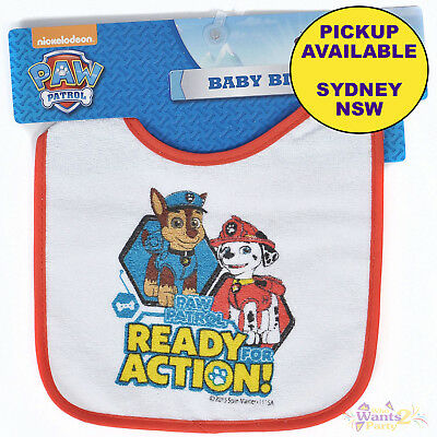 Paw Patrol Baby Toddler Terry Cloth Velcro Bib Ready For Action Chase Marshall