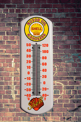 Vintage Shell Metal Wall Thermometer Retro  Vintage Man Cave Outdoor Indoor Wall