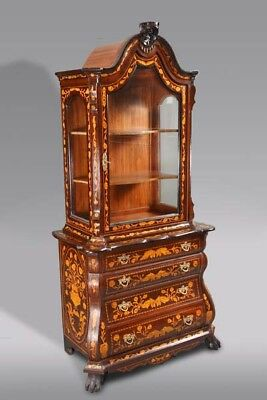 Exclusive Tower Display Case Cabinet with Inlaid Dutch Baroque Style