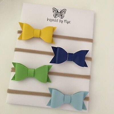 4x Girls Baby Toddler Nylon Thin Headband Newborn Faux Leather Bow Accessories