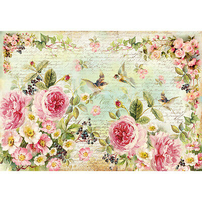 1 Blatt Decoupage Reispapier DFS356 english roses Stamperia