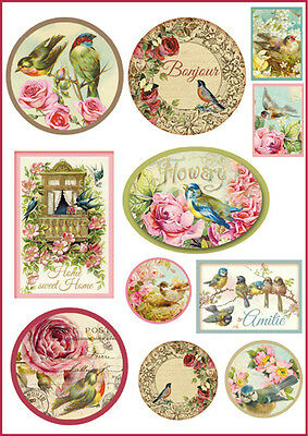 1 Blatt DIN A4 Decoupage Reispapier DFSA4072 tags with birds   Stamperia