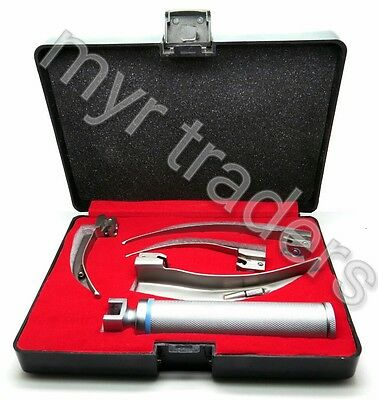 Laryngoscope-4-Blades-Macintosh-Standard-Handles-with-Box-EMT-Anesthesia-New-Set
