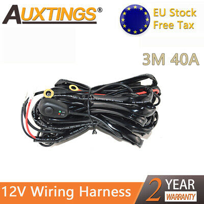 Wiring Harness Kit 40A 12V ON/OFF Switch Relay Harness for LED Work Light Bar EU