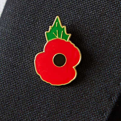 Official Poppy Lapel Pin Badge Large Enamel Clutch Fitting With Base Metal New