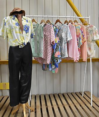 Job Lot 9 X Vintage Womens Blouses Pastel Pack