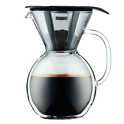 Bodum 11672-01 8 Cup Double Wall Pour Over Coffee Maker with Glass Handle, Black