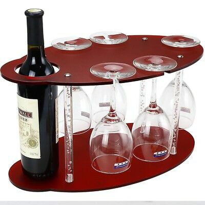 Red Frosted Acrylic Wine Rack free standing on Table-Wine Glass Holder-Wine