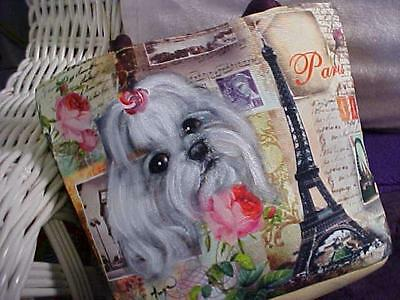 Maltese Handpainted Little Tote Makeup/lunch Many Uses