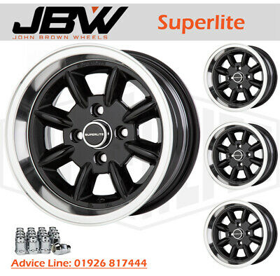 7x 13 Superlight Wheels Classic Ford Set of 4 Black