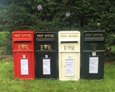 Royal Mail ER Post Box White, Red, Black and Green Option on Stand Similar to GR