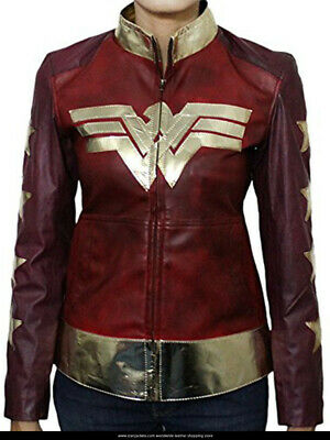 Wonder Woman 2017 Classic Iconic Leather Costume Jacket Free Shipping