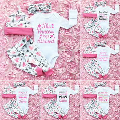 4PCS Newborn Baby Girls Princess Top Romper Long Pants Hat Outfits Clothes 0-24M