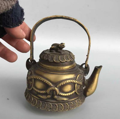 Chinese antique hand engraving brass copper cash frog teapot