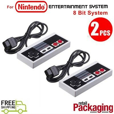 2 Pcs Classic Gaming Controllers Gamepad For Nintendo NES 8 Bit System Console