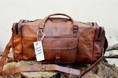 New 24 Inch Brown Vintage Genuine Leather Cowhide Travel Luggage Duffle Gym Bags