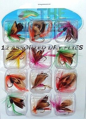 12 Dry Flies Fly Fishing Lures Butterfly Trout Hooks Tackle Freshwater