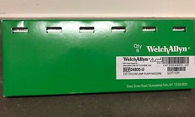 Genuine Welch Allyn replacement bulbs, new 4800-U, pack of 6, 2.5v vacuum lamp