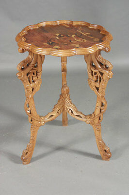 Pretty Side Table Table after a Galle Model Inlaid