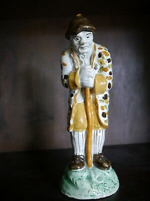 "Early Prattware Figure ""OLD AGE"" Scottish East coast C1800/20"