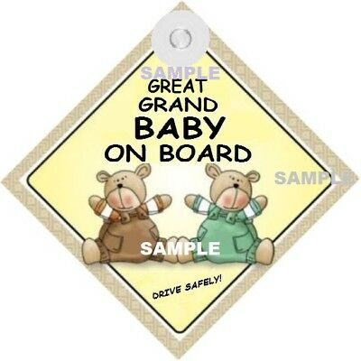 GREAT GRAND BABY ON BOARD! - Two Bears  MADE IN Au - Suction Cup - FREE POST
