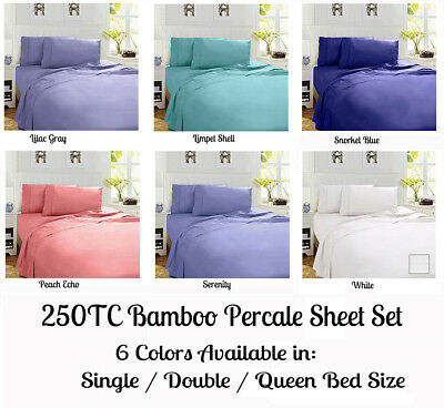 Luxury 250TC Bamboo Percale Sheet Set Single King Single Double Queen King Size