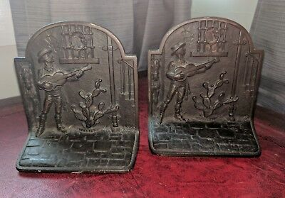 Pair Hubley Serenade Tonight Patinated Cast Iron Antique Bookends