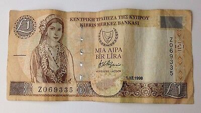 Dated : 1998 - Cyprus - One Pound / £1 - Banknote / Paper Money