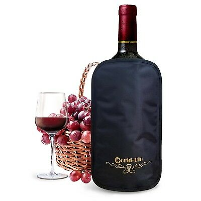 (Oblong Black) - Ice Champagne Chiller Bottle Cool Sleeve Reusable for Wine,
