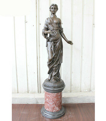 107 Collect Western bronze Marble Base Pure Bronze summer beauty Girl Statue