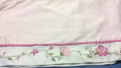 Pink  stripe FAOSchwartz girly valance embroidered flowers