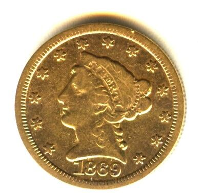 1869 S Liberty Quarter Eagle $2.50 Gold VF+ Better Date 183 Pieces Known