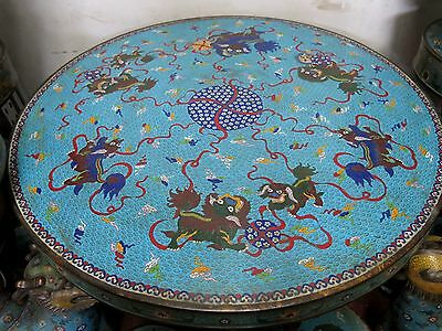 """30"""" China pure copper Cloisonne Foo Dogs A set of tables and four stools Statues"""