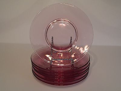 """7 Beautiful Vintage Tiffin Pink Wistaria 8"""" Glass Luncheon Plates"""