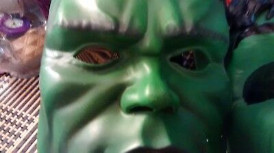 set of two incredible hulk vintage mask/1 light up green/used.