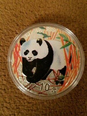 1Oz. .999 Silver Chinese 10 Yuan Panda Coin Painted - 2001 Rare Find - Stunning!