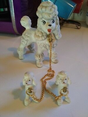 Vintage Poodles Dog  Mom W Chain And (2) Puppies Porcelain Figurines