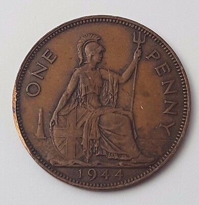 Dated : 1944 - One Penny - Copper Coin - King George VI - Great Britain