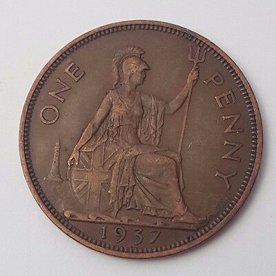 Dated : 1937 - One Penny - Copper Coin - King George VI - Great Britain