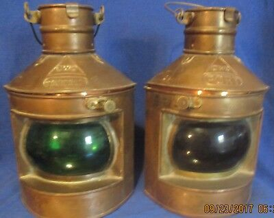 Vintage Boat Navigation Whale Oil Lamps Port And Starboard Copper And Brass'
