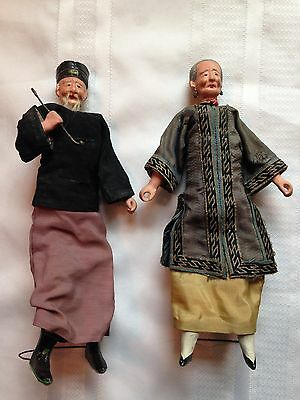 Antique Chinese Merchant Doll Figures Composition Real Hair Original Estate